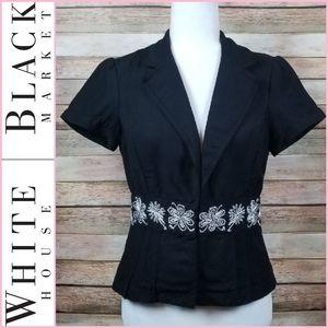 NEW WHBM Black & White Cap Sleeve Blazer Jacket
